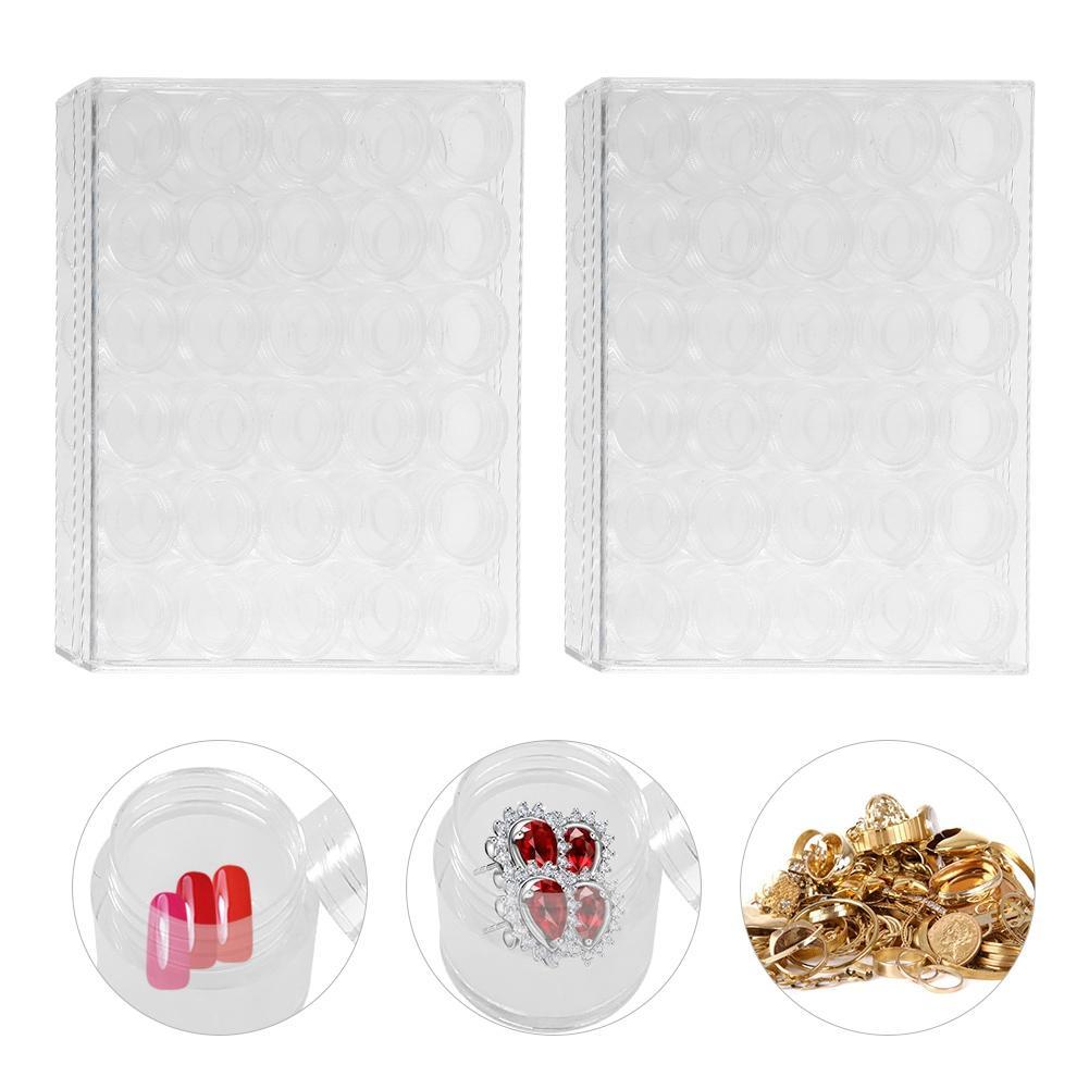 I nuovi 30 piccoli vasi trasparenti rotondi del contenitore rimuovono la scatola di plastica del chiodo di immagazzinamento del branello dei gioielli di plastica