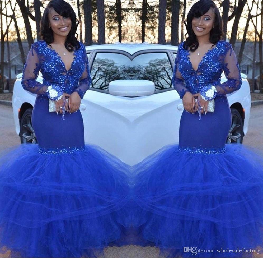 Nuovi abiti da ballo sexy a sirena in pizzo blu royal scollo a V maniche lunghe maniche lunghe in tulle con perline abiti da cerimonia convenzionali abiti da festa Robe De Mariee