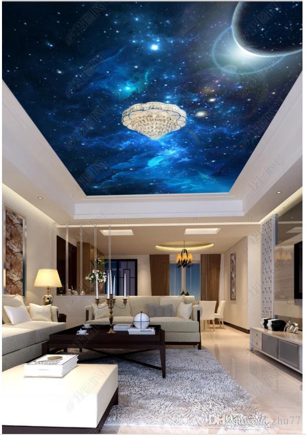 Пользовательские 3D фото фон потолок материал шелк зенит настенный мечта пространство планета лобби отель потолок зенит настенных