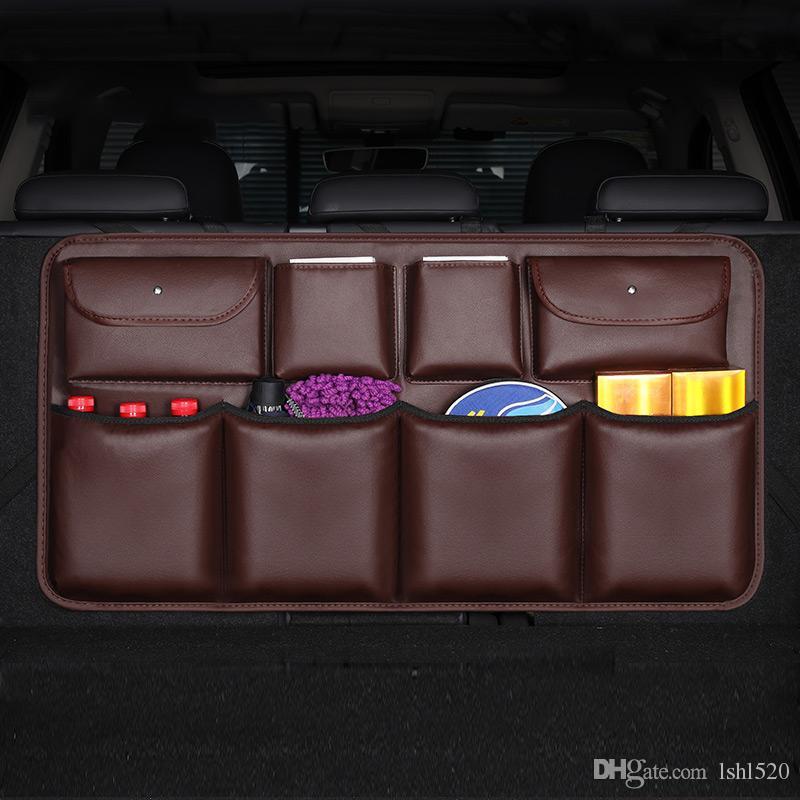 سيارة الجذع منظم قابل للتعديل المقعد الخلفي حقيبة التخزين نت عالية السعة موضوع استخدام الجلود مقعد السيارات العام السابق المنظمون