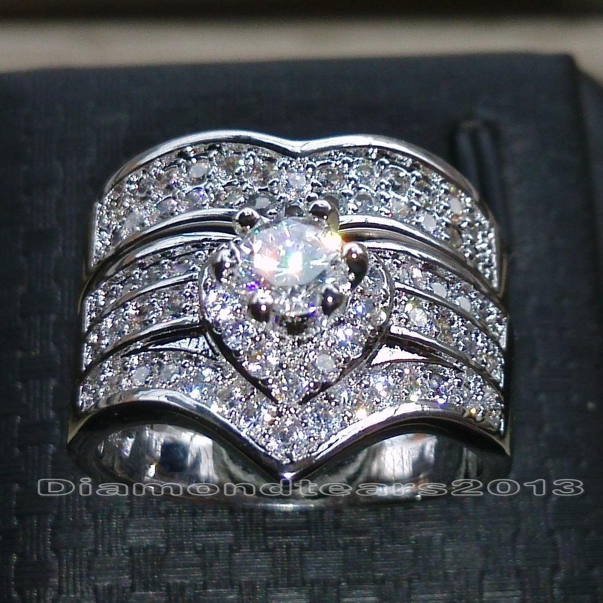 Victoria de oro blanco Wieck joyería lujo de la marca de Desgin 10kt del corte redondo lleno Sapphire CZ Diamond anillos de boda nupcial conjunto de la Mujer Tamaño 5-11