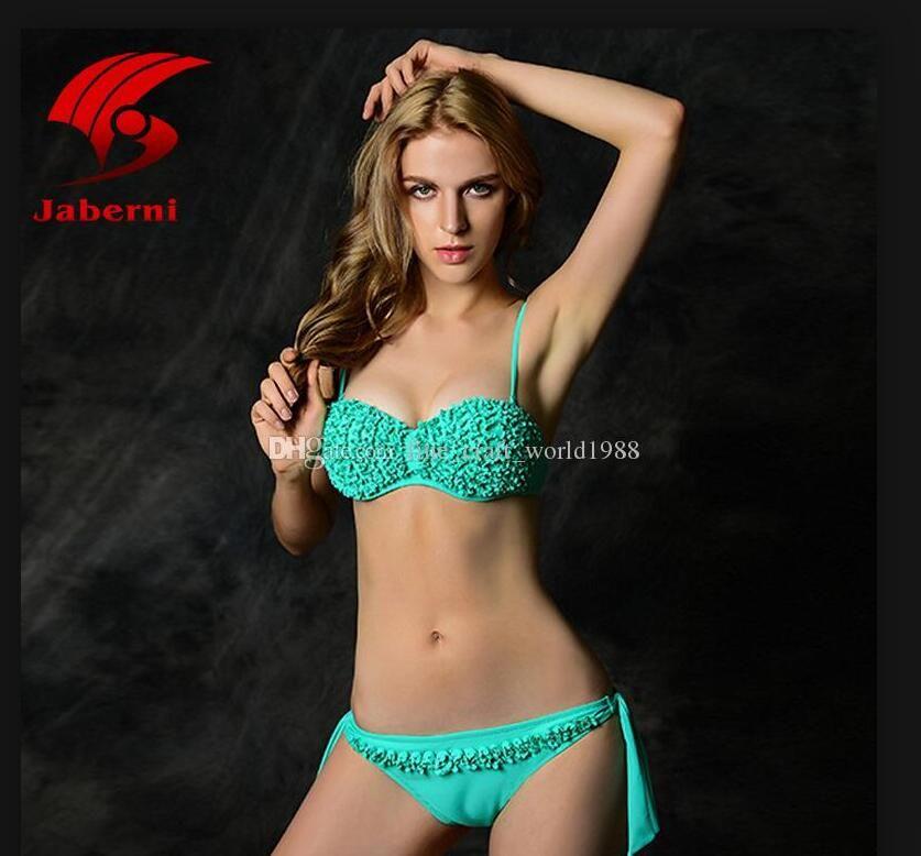 2020 новый стиль оборками кружева купальник женщины сексуальный пляжный костюм бандо бикини Sheer купание спа костюм сексуальные купальники 2 компл./лот