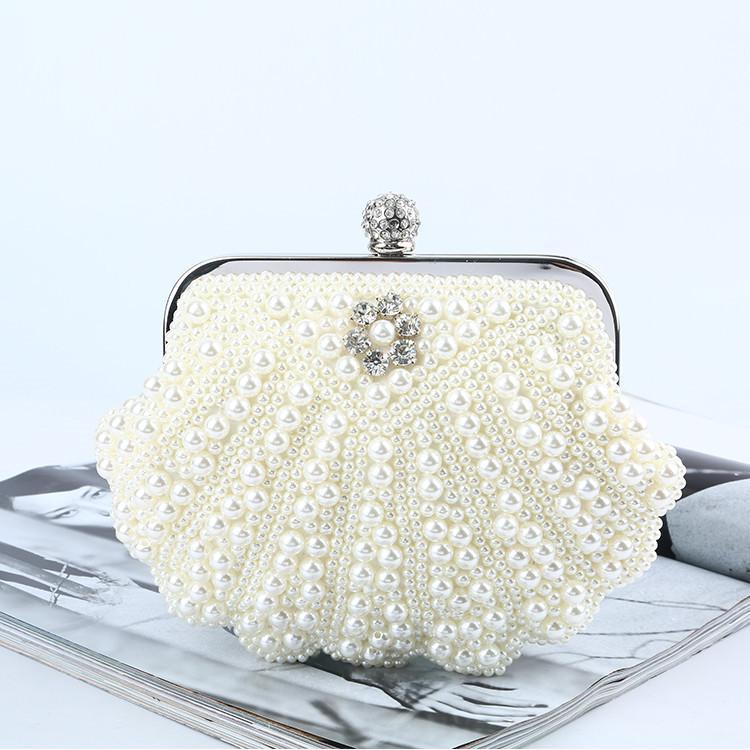 Bead Pearl Bianco Nero Tessitura sacchetto di frizioni per le donne Pearl completa del sacchetto di sera della sposa festa di nozze di trucco Messenger Bags