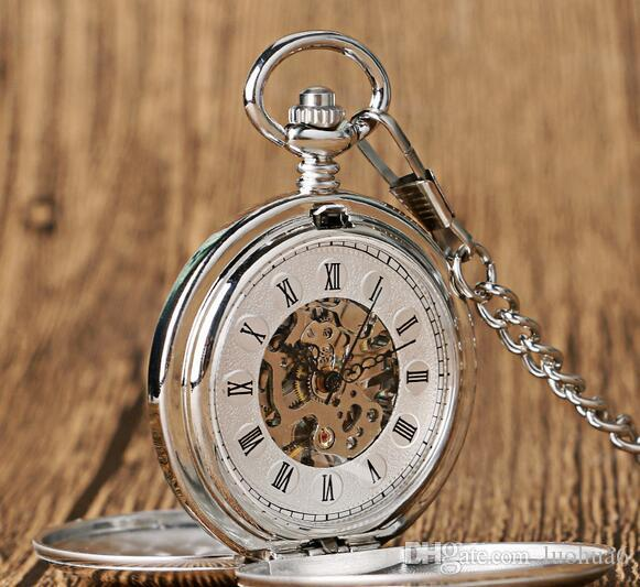 New high-end double-open two-sided light Roman literal retro manual mechanical big pocket watch thick waist chain explosion hot sale