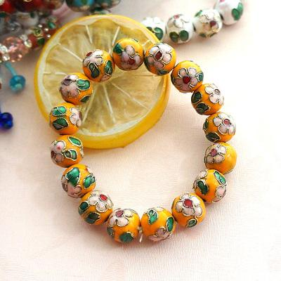 Beads Chinese Yellow Cloisonne Beads 12mm