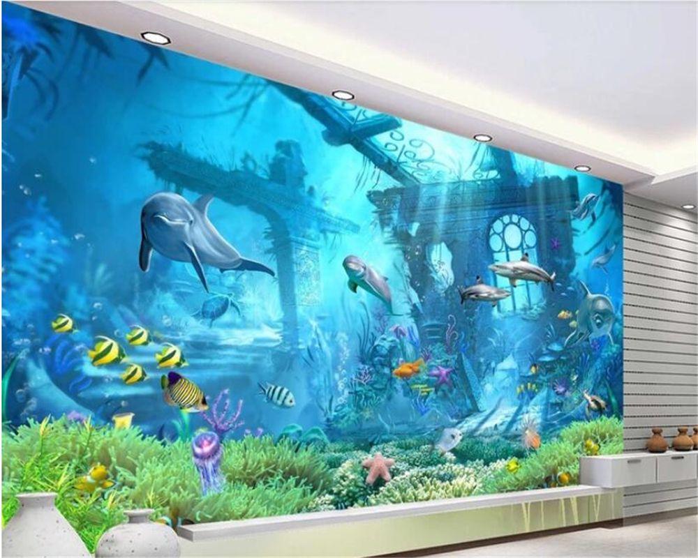 beibehang Tapeten für Kinderzimmer-Wandtapete 3D-Unterwasserwelt Schlafzimmer Tapete Hintergrund papel de parede 3d