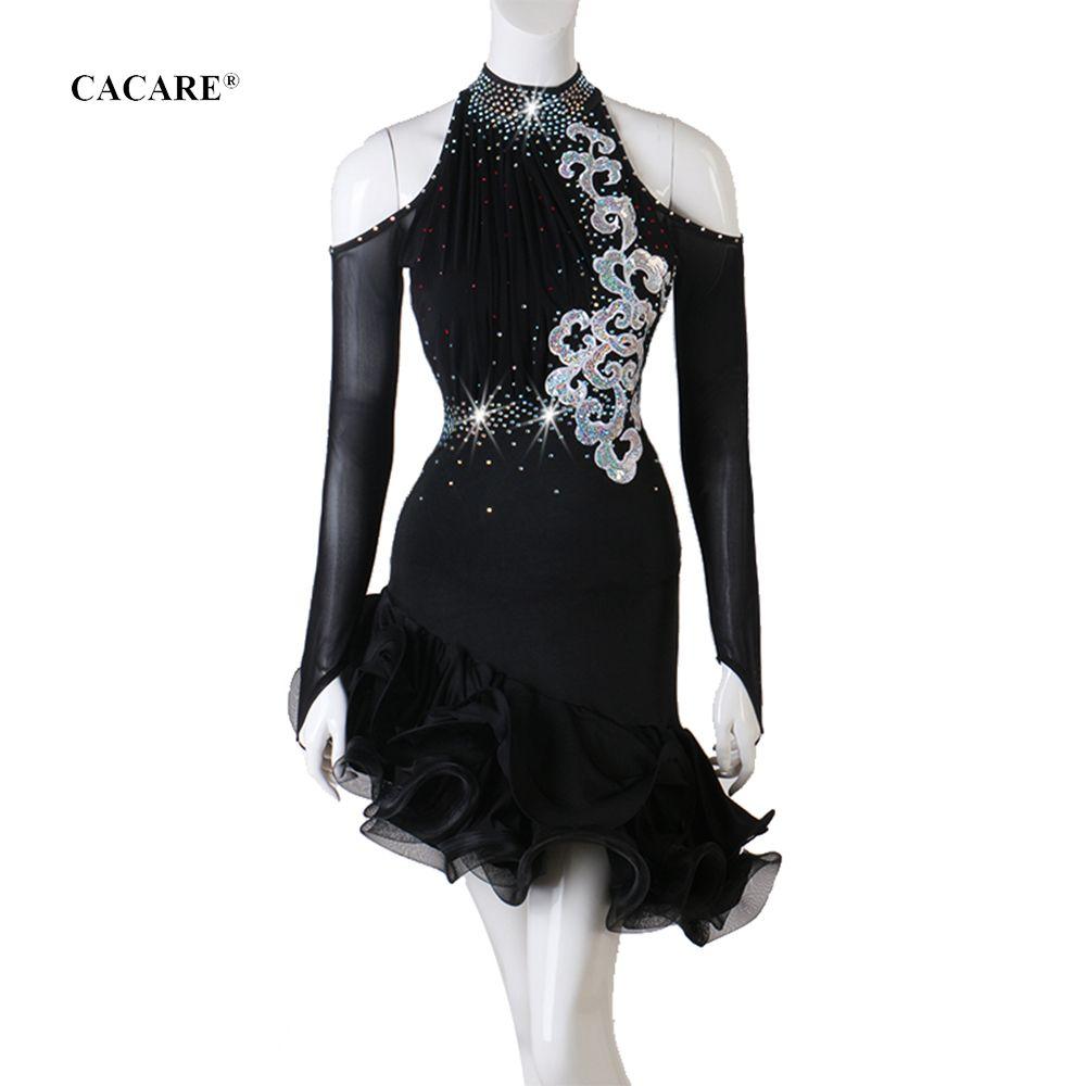 Latin Dance Dress Women Elegant CHEAP Rhinestones D0699 Salsa Dance Wear Lyrical Dance Costumes Fluffy Sheer Hem