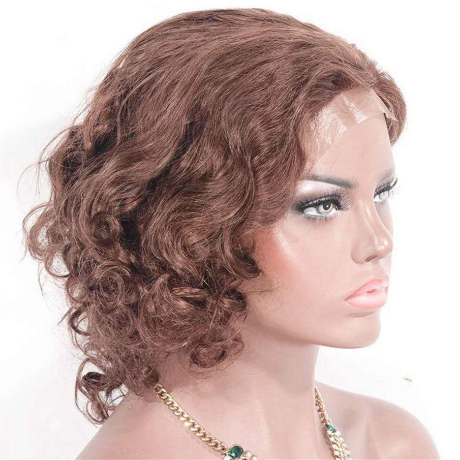 Brazilian Loose Curly Human Hair Lace Wigs 12 inches Glueless Lace Front Wigs 33# for Black Women