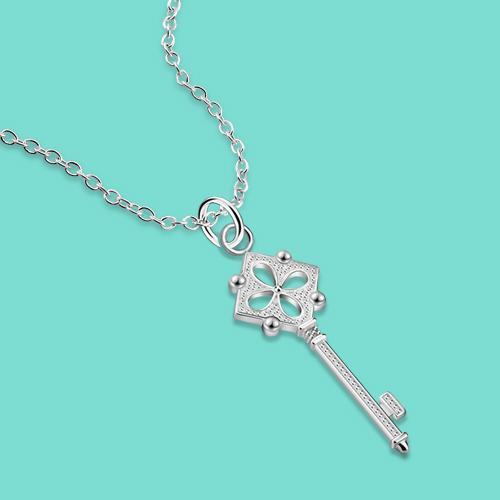 Новый S925 ожерелье стерлингового серебра ключ кулон ожерелье чистого серебра цепи подарок на день рождения студента популярных ювелирных Бесплатная доставка