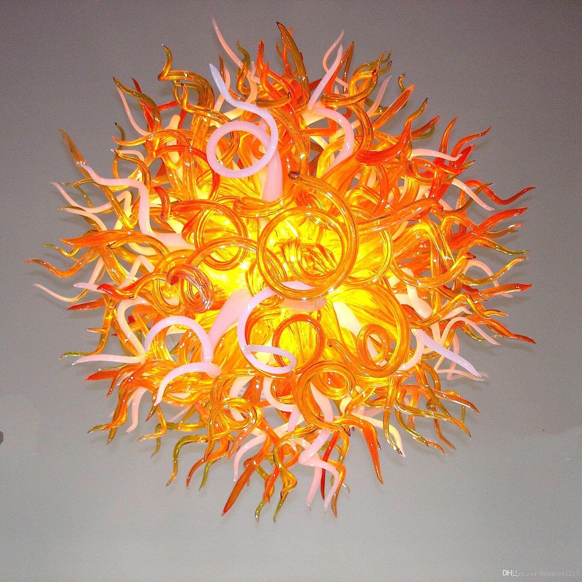 램프 샹들리에 펜던트 빛 100 % 입 날아가 유리 아트 홈 램프 라운드 스타일 펜던트 크리스탈 라이트