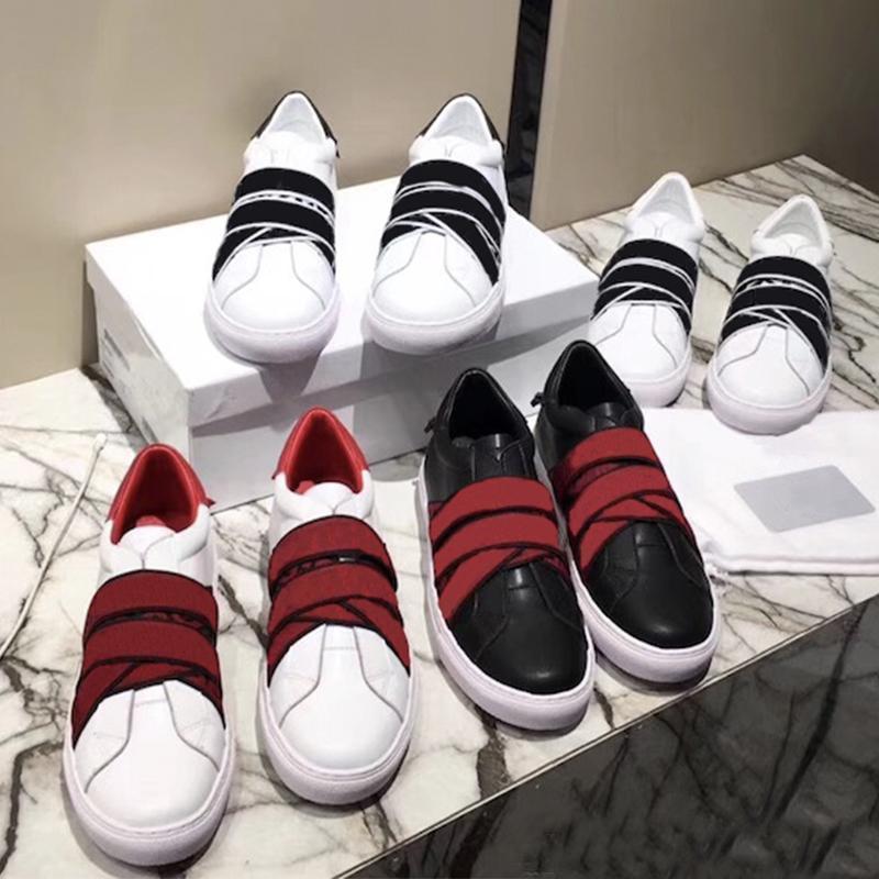 Designer-Freizeitschuhe 100% Leder Luxus Männer Frauen elastische Bänder Turnschuhe Soft-Rindleder weiß schwarz Spitzen-up flache Schuhe Größe 35-45 42 Gurtband