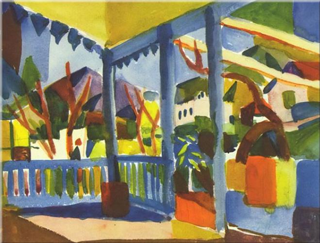 August Macke - Terrasse des Landhauses in St. Germai Wohnkultur Handbemalte HD-Druck-Ölgemälde auf Leinwand-Wand-Kunst-Leinwandbilder 200101