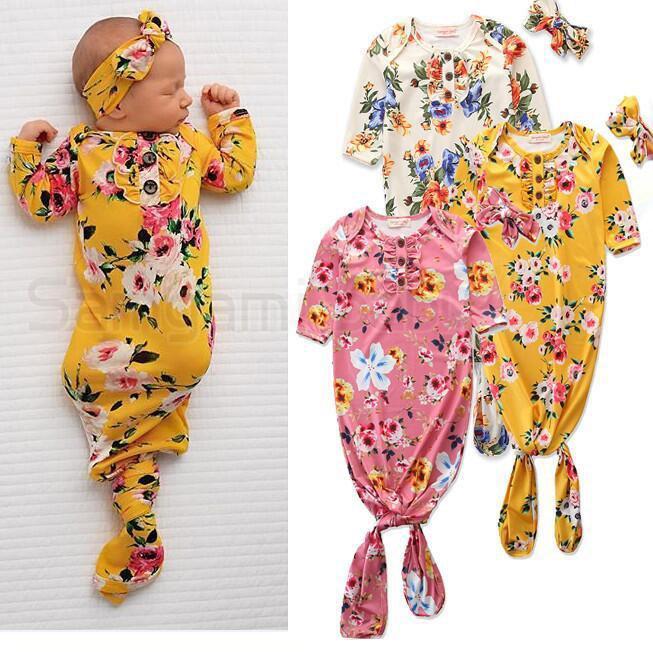 Нотание спальные мешки повязки набор цветочные цветы Антикровь Одежда Rompers Новорожденный с коротким рукавом завязанные пижамы набор домашней одежды