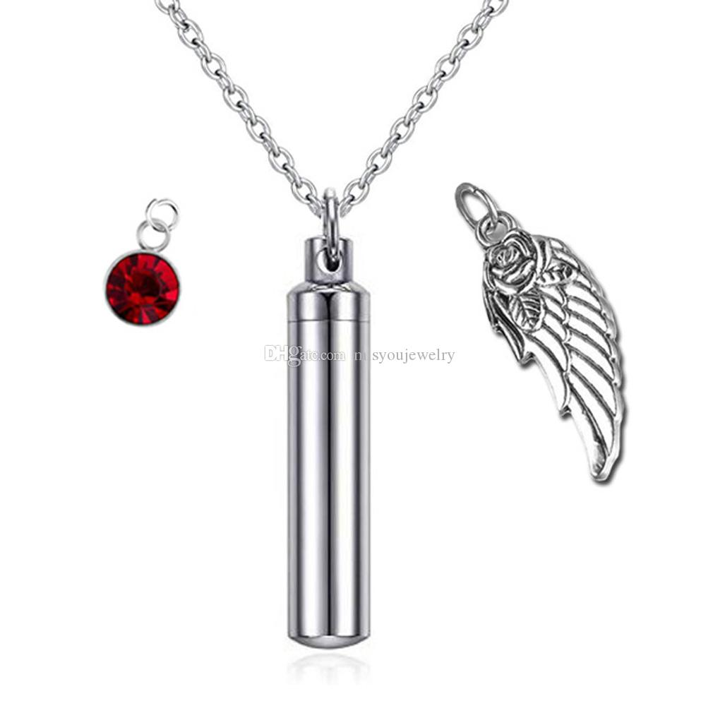 Cylinder Pendant Cremation Jewelry Angel wings Memorial Urn Necklace for Ashes Keepsake Birthstone crystal