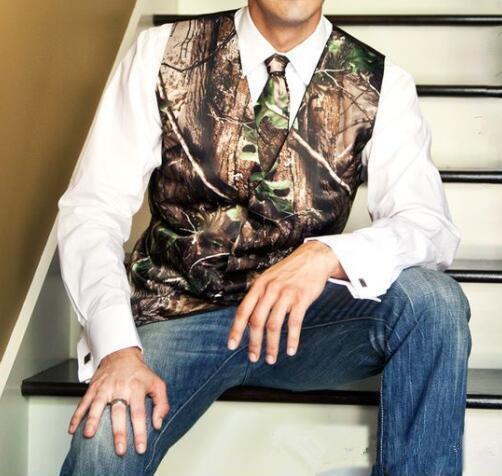 Camo veste casamento caçador noivo colete tronco de árvore folhas primavera camuflagem slim apto homens coletes 2 pedaço conjunto (colete + gravata) feito sob encomenda
