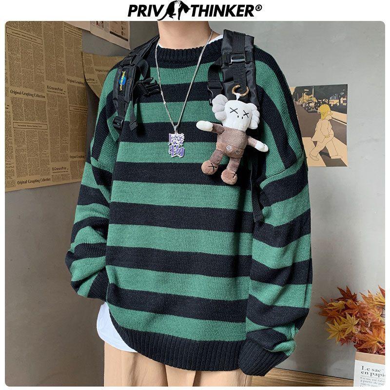 Collage de Corea Privathinker Hombres rayado ocasional suéter de punto de los hombres del otoño Pullover Superior Masculina O-cuello del suéter de gran tamaño modas T200101