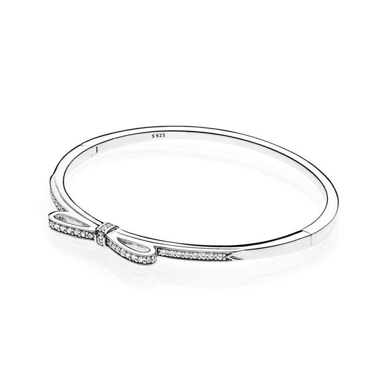 New arrival 925 Sterling Silver Sparkling Bow Bangle Bracelet Original Box for Pandora CZ Diamond Women Weddnig Gift Jewelry Bracelet Set