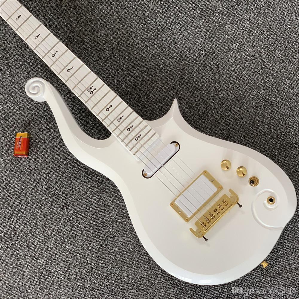 Free Shipping Super Rare Prince Cloud Sparkle Pearl White Electric Guitar Alder Body, Maple Neck, Black Symbol Inlay, Wrap Around Tailpiece,