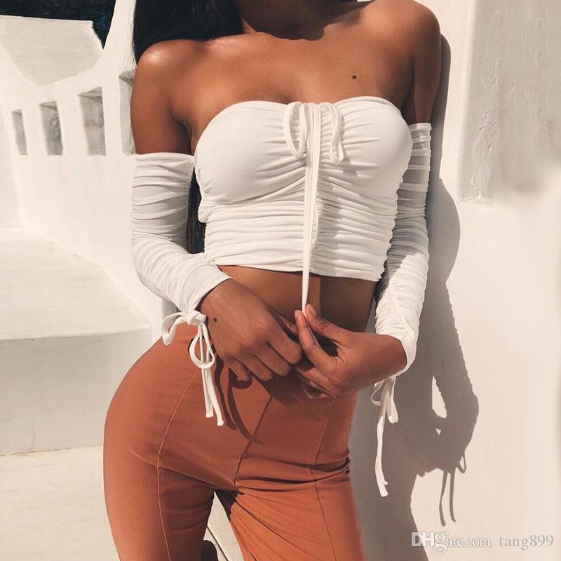 2019 Mode féminine épaule crop top à manches longues été chemise blanche Blouse cou slash cou Crop Top Backless