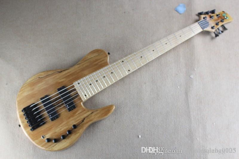 ADCF Natural Wood One Piece Neck Through active Pickups Fodera Butterfly 6 Strings Electric Bass Guitar