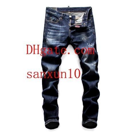 abbigliamento uomo Distressed Jeans strappati strappati Marchio di moda Slim Motociclista Motociclista Causale Uomo Pantaloni jeans Hip Hop uomo KU-82
