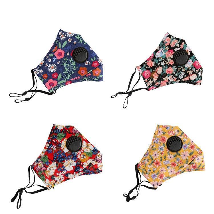Blumendruck-Maske mit Entlüftungsventil Breathmundmasken Antistaub Waschbar wiederverwendbare Gesichtsmaske Abdeckung Designer MaskT2I5934