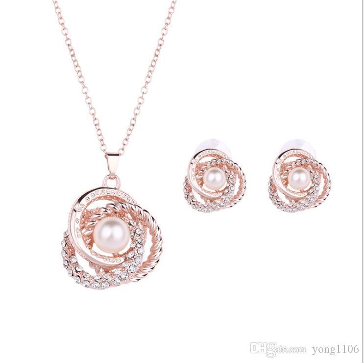 Tendencia de moda europea y americana novia diamante perla personalidad accesorios collar joyas traje banquete vestido Pendientes Joyas
