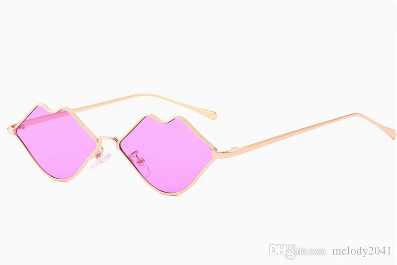 2019 New Personality Lips Women Sunglasses Retro Small Metal Frame Sun Glasses Colorful Sexy Eyewear Glasses 8 Color Wholesale
