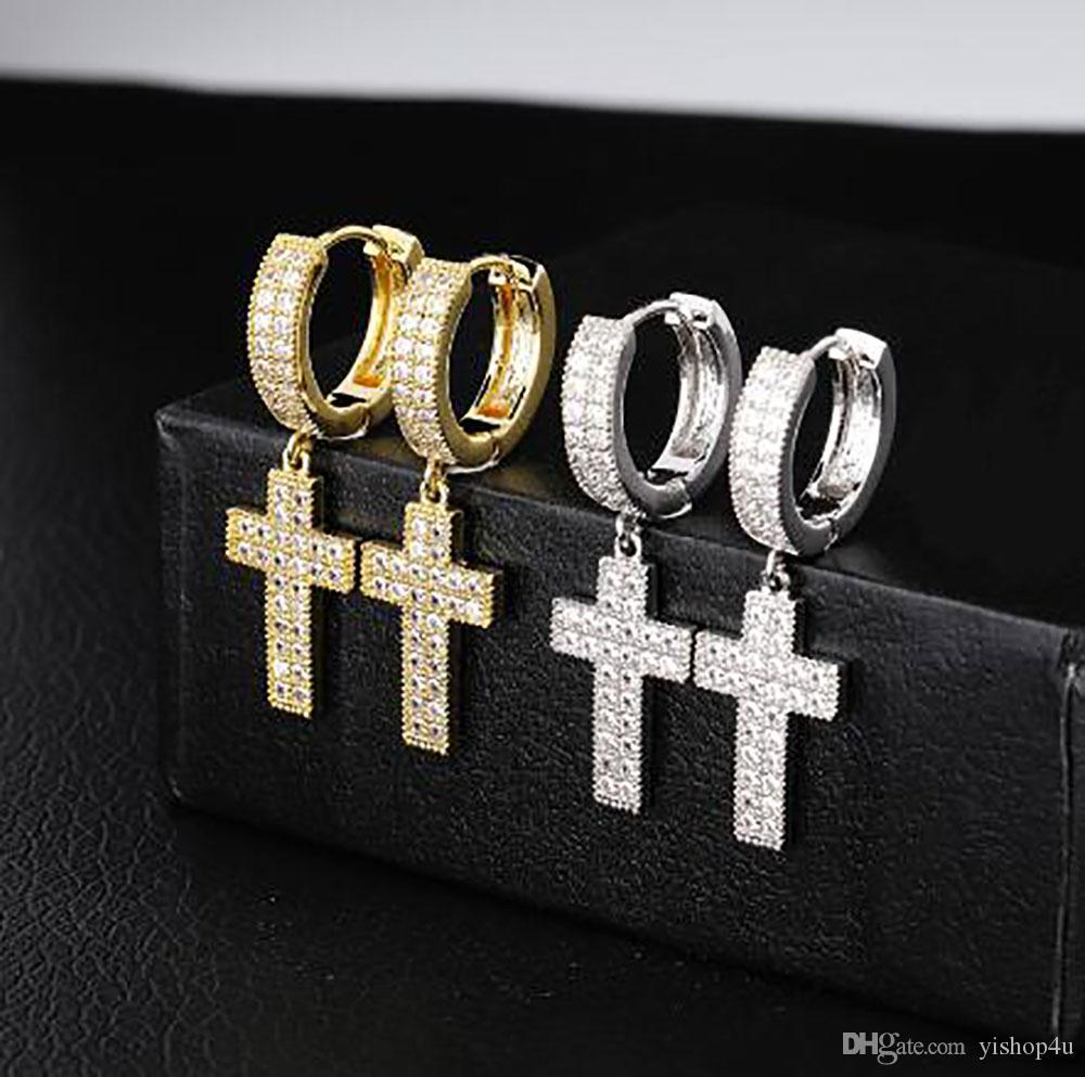 1 Paar Lässige Kreuz-Tropfen-Ohrring-Mikro pflaster KubikZircon Ohrring Männer Frauen arbeiten Schmucksachen für Geschenk