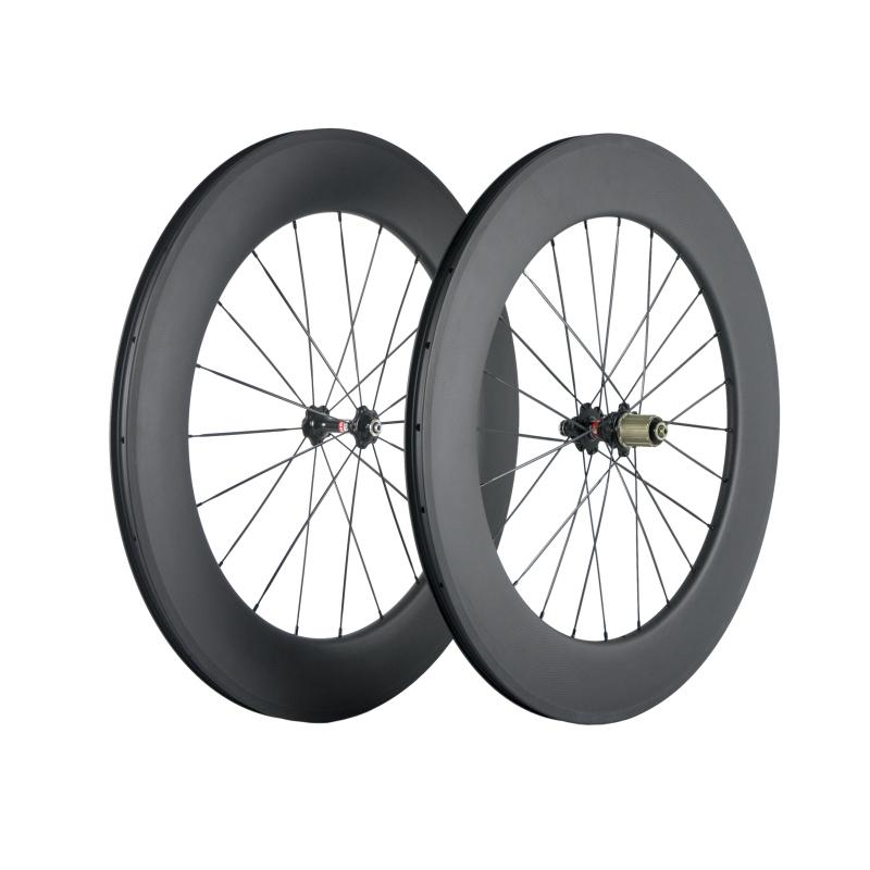 700C 튜브없는 88mm 카본 휠 커플 도로 자전거 3K 직물 매트 탄소 바퀴 (271) 허브 레이싱 휠