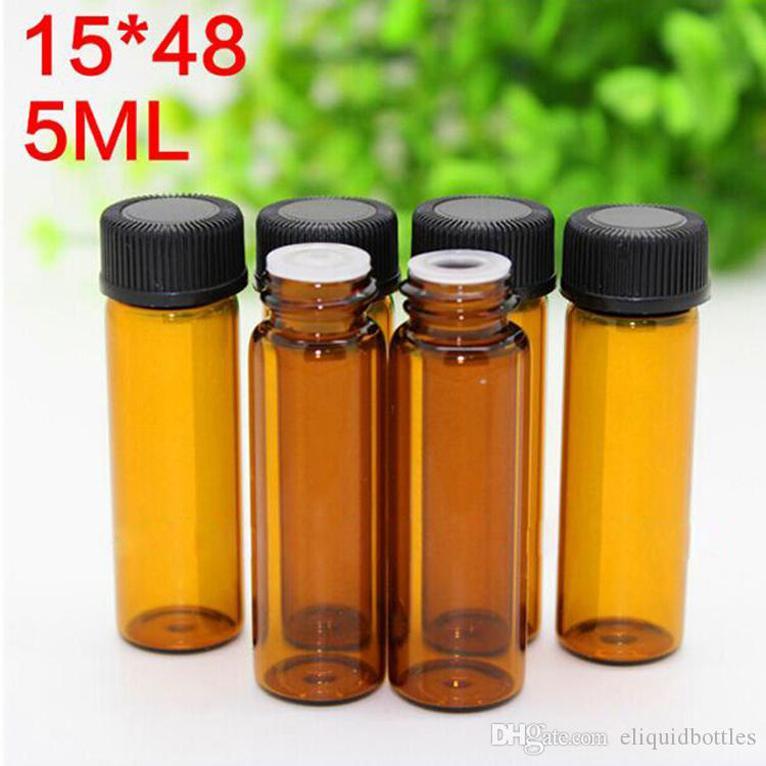 2020 vendite calde 5ml Mini Svuotare contagocce ambra aromaterapia bottiglie di olio con Esstenial Black Cap 2000Pcs Lot