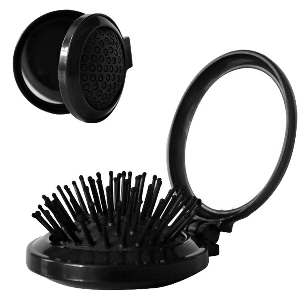 Pocket Size Travel Brush Fashion Massage Hair Folding Mirror Comb Air Bag comb design easy to carry relieve stress