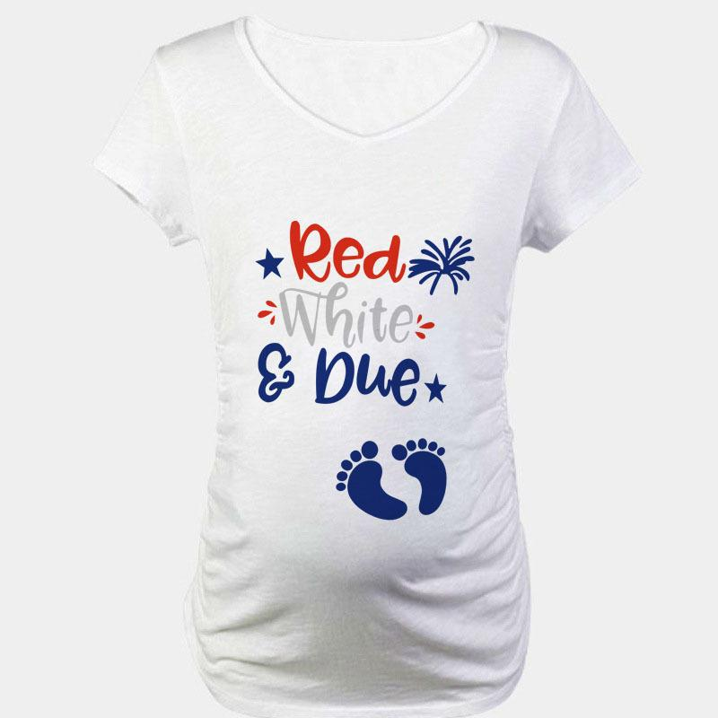 Simple Summer New Style Maternity Clothes Cute Footprints Pattern Printed Comfortable Tops Europe And America Large Size Dress