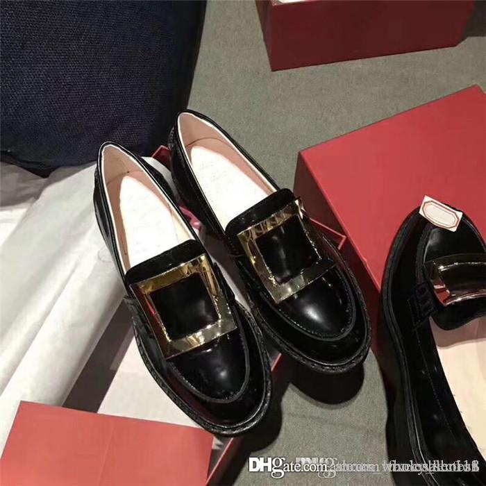 Klassische lässig Leder Faulenzer mit Messingschnallen und Diamant-Schnallen sind mit Lackleder Low-Top-Loafer mit Kasten verschönert 35-40