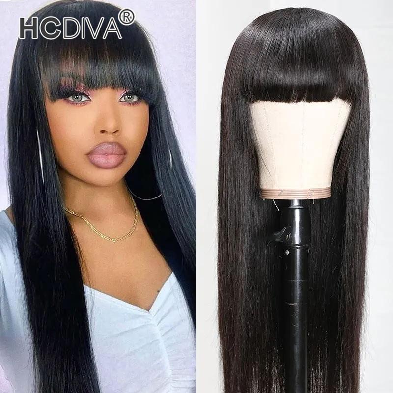 Природные Черный человеческих волос парики с челкой Бразильский прямой Боб парик волос Remy для женщин Полный машинного производства парик с Банг HCDIVA