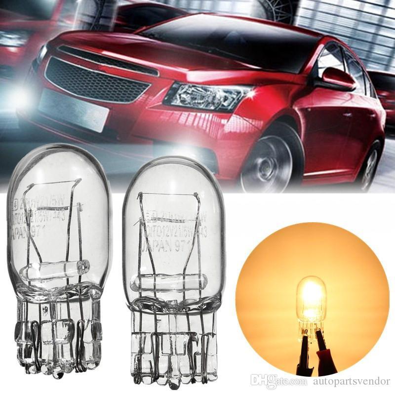 2x W21 / 5W T20 7443 7440 3800K Señal de luz halógena de cristal claro de Daytime Running Lights Girar la parada del freno de la cola del bulbo de los bulbos DRL