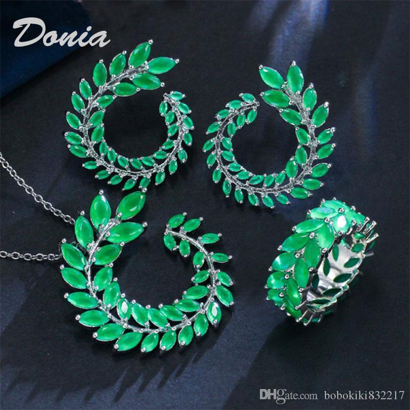 Donia ramo moda gioielli e bird zircone orecchino collana a due pezzi decorazione dono gioielli di nozze signore banchetto insieme