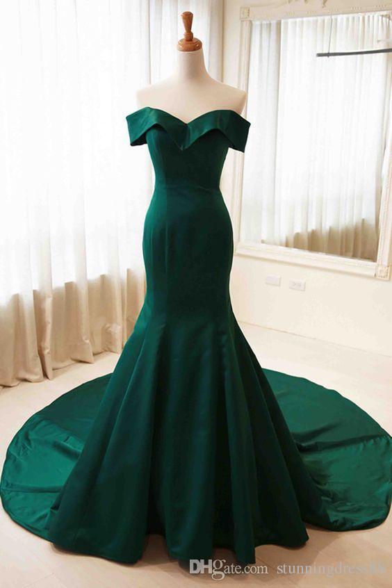 Dark Green 2020 sirène robe de soirée Les robes de soirée de l'épaule V cou satin simple longueur de plancher bas piste Tapis rouge robes