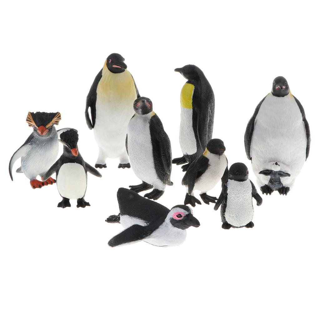 Ensemble de 9pcs Modèle Famille de pingouin faune plastique jungle Ocean Forest Animaux Action Figure Eduactional Jouets Playset