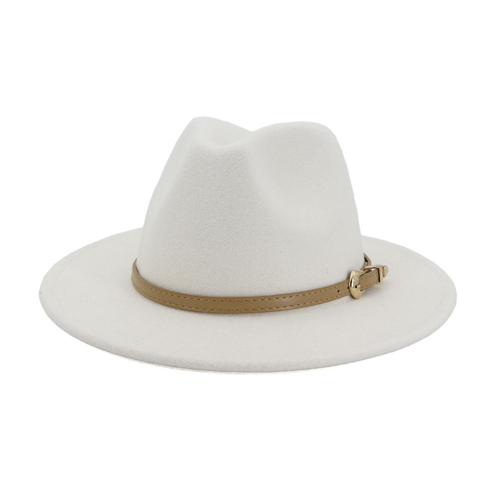 2020 الخريف الشتاء النساء الرجال صوف فيلت بنما قبعة فيدورا جاز الرامي قبعات حزام بوكلي ديكور شقة بريم كاوبوي قبعة Trilby
