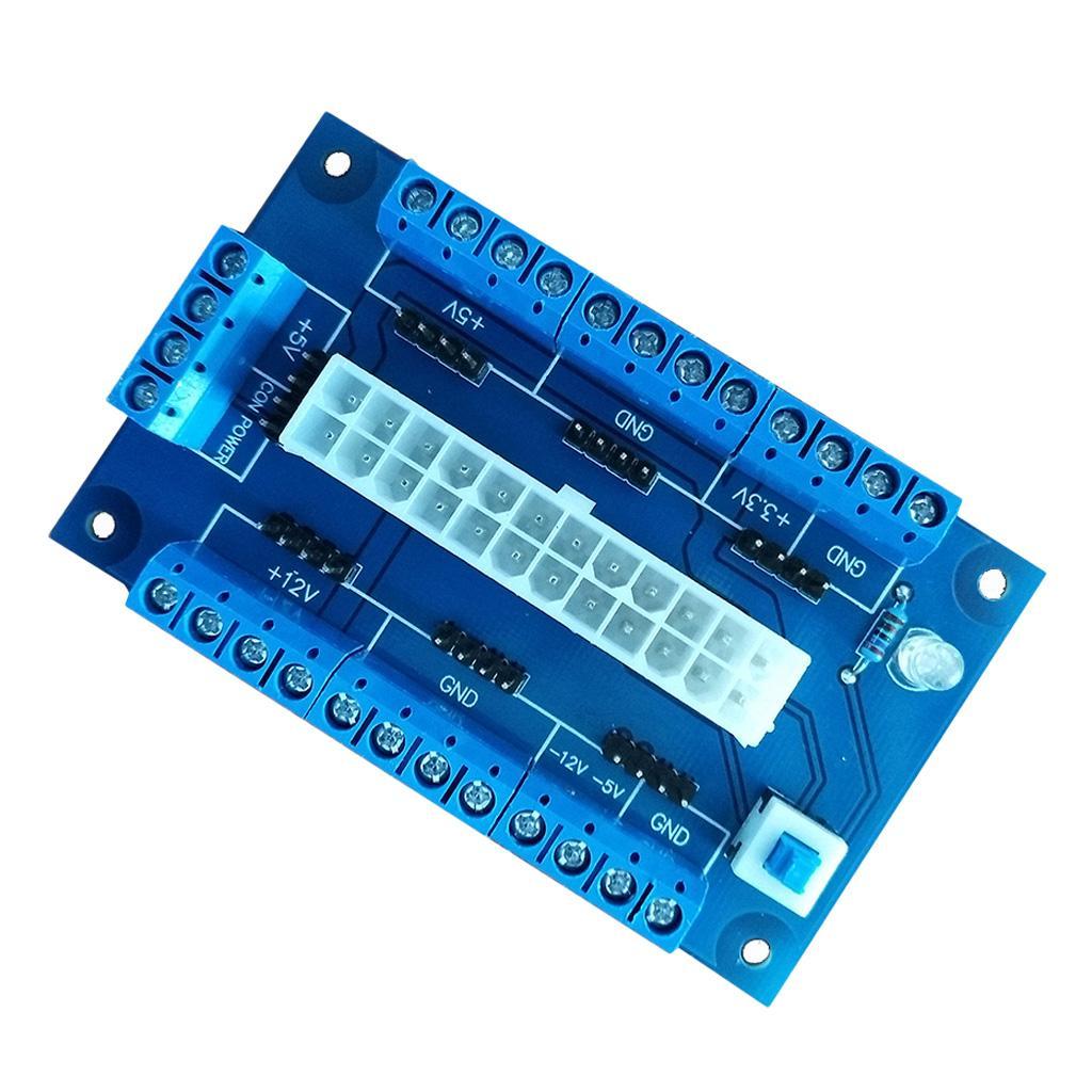 ATX da banco PC Power Board, 24 pin Computer ATX Breakout modulo adattatore 12V, 5V, 3.3V, -12V