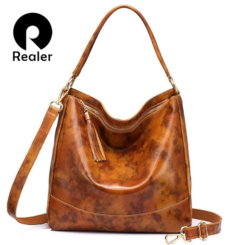 Realer Brand Women Leather Handbags Female Genuine Leather Shoulder Crossbody Bag Large Hobos Tote Bag With Tassel Black/brown Y19052801