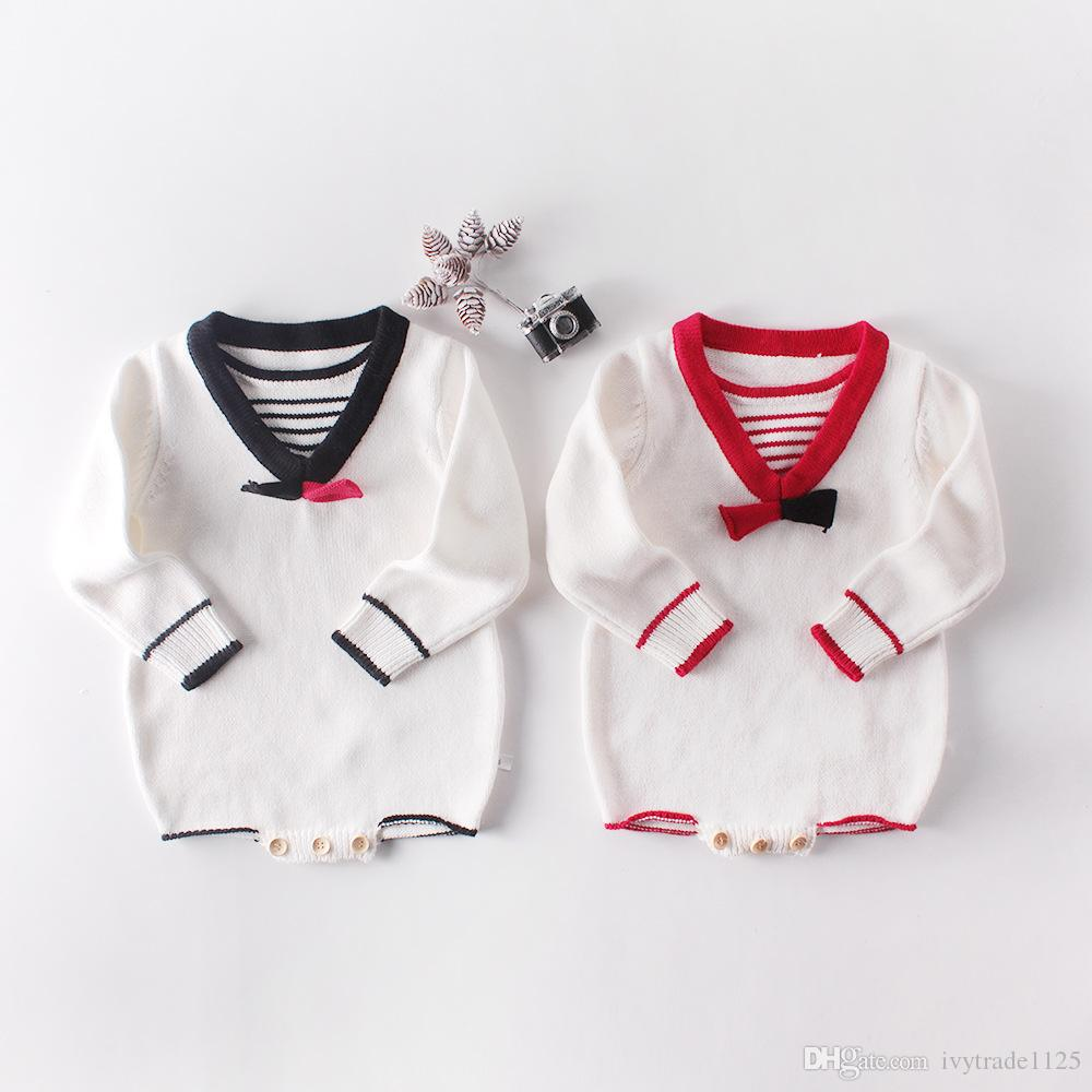 baby Girl Designer clothing Knitted Romper Long Sleeve O-neck School Style romper 100% cotton Spring Fall Warm Baby clothing 0-24 Months
