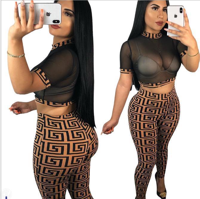 Womens Marca 2 Pants Pedaço Discotecas FF T-shirt Calças Sexy malha Set estilo de impressão Mulheres terno short verão 2piece forma 0