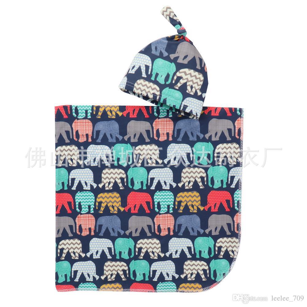 Infant Baby Swaddle Blanket Boys Girls alpaca Blankets+hat Floral Printed Soft Cotton Sleep Sack Cartoon Animal Sleeping Bags GGA2067