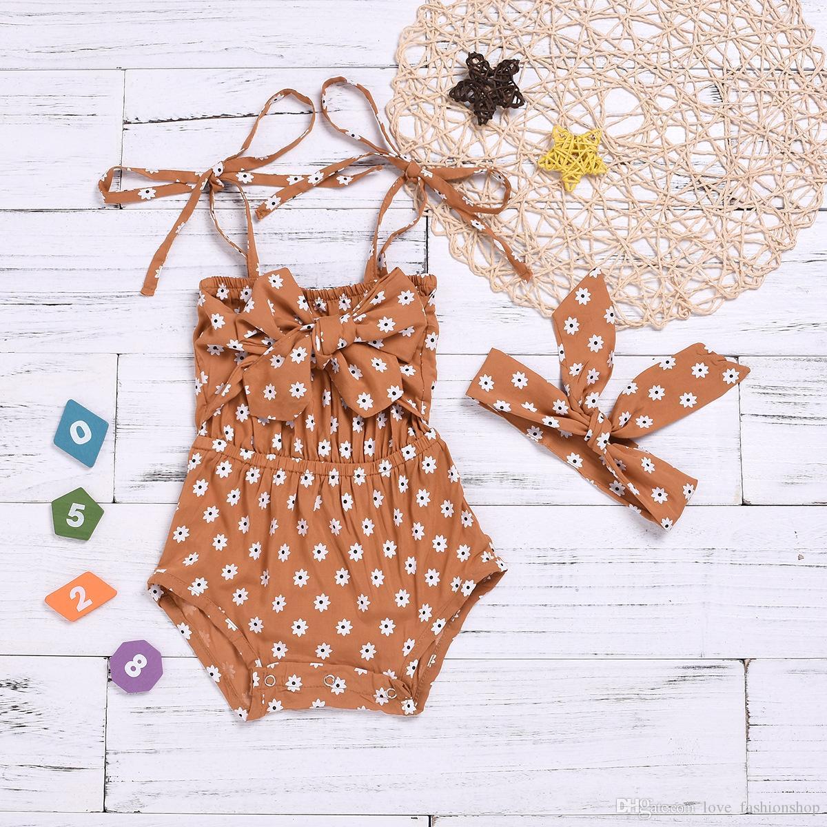 2019 Sommer Baby Mädchen Strampler mit Stirnbändern Hosenträger Backless Floral One-Parts Jumpsuits Neugeborene Baby Kleidung Kinder Boutique Kleidung