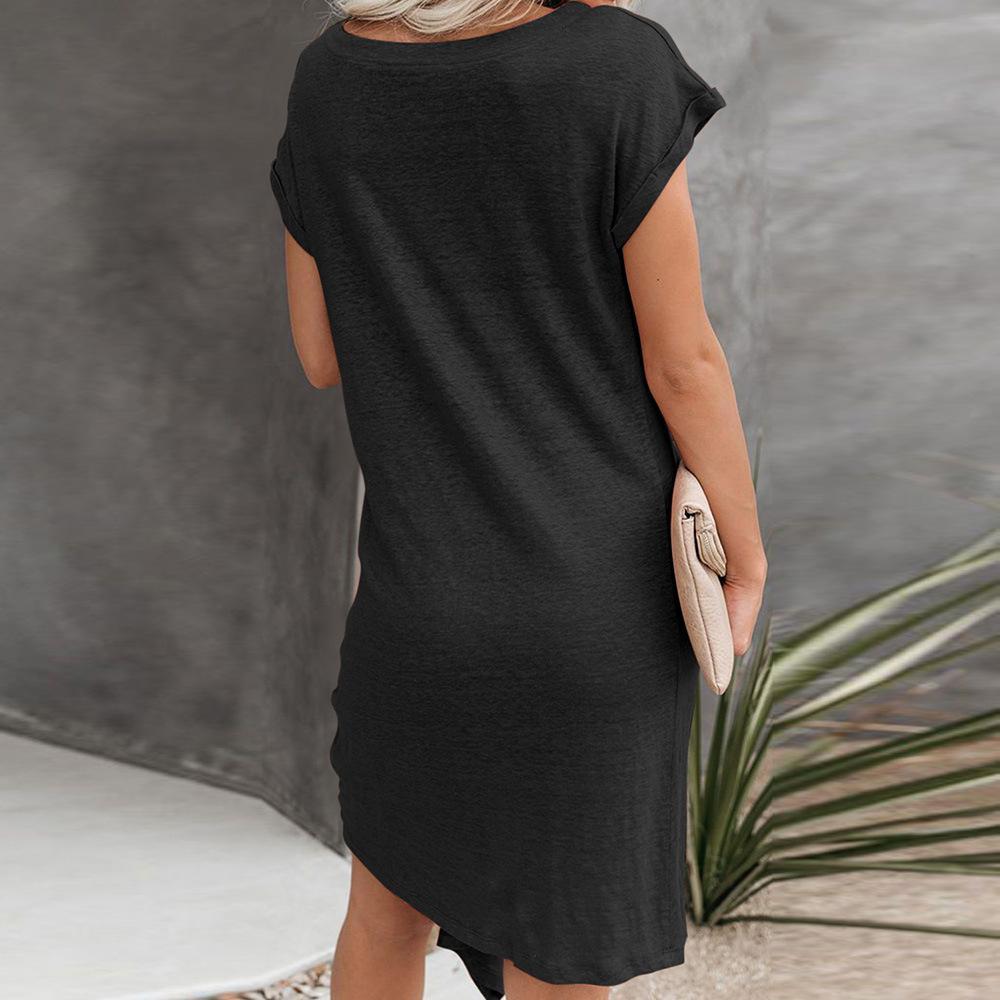 대신에 새로운 곽희 쿤 여자 여름 새로운 유럽과 미국 스타일 단색 둥근 목 짧은 소매 주름 비대칭 느슨한 맞춤 드레스
