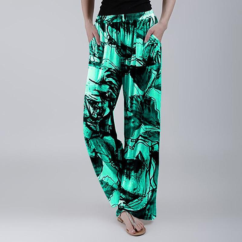2020 mujeres de seda pantalones de yoga altura del tobillo pantalones floja ocasional de la impresión floral ropa de dormir ropa de dormir de las señoras entrenamiento flojo