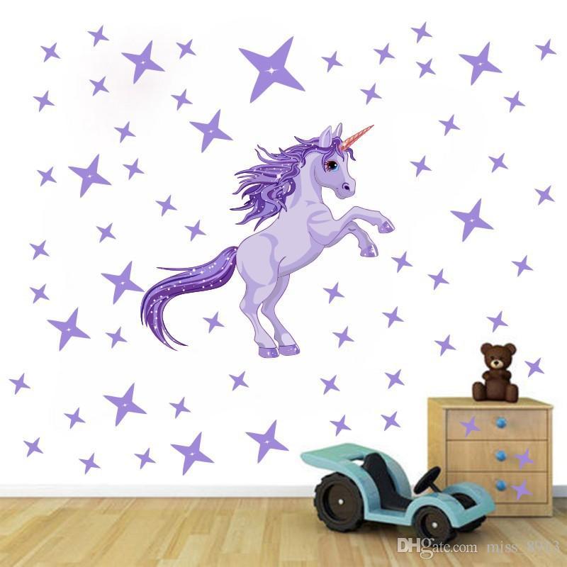 الفتيات الأرجواني جدار صائق الأميرة غرفة شخصية يونيكورن الفن ملصق نوم الحضانة صائق جدارية نجوم الحيوان جدارية