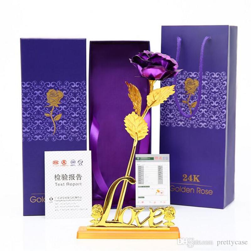 Золотая фольга роза цветок искусственная золотая роза с подарочной коробкой для валентинок день день рождения дня рождения годовщины свадьбы